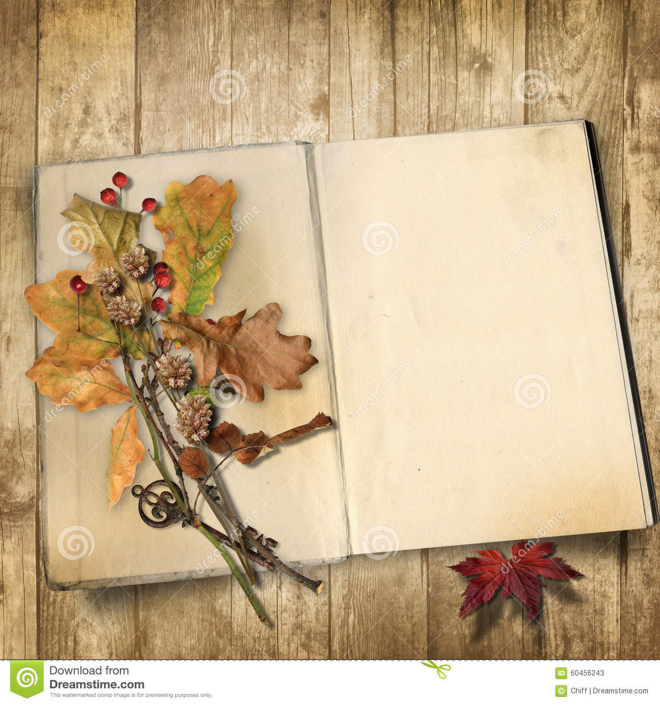 Autumn Background Old Book On A Wooden With Leaves