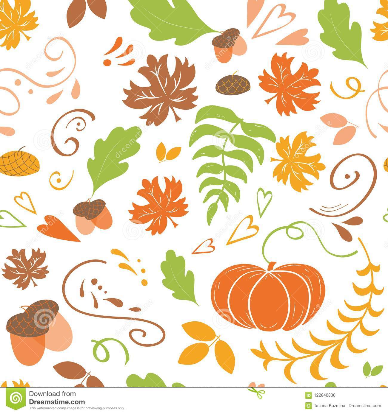 Autumn Background Seamless Pattern Of Falling Colorful