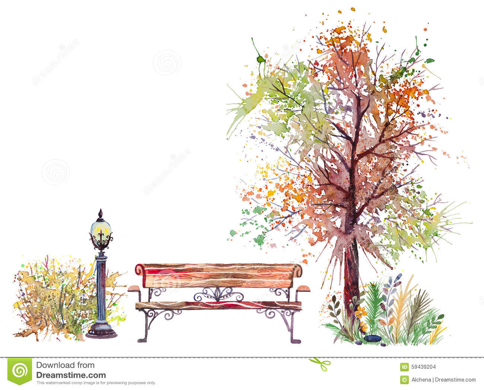 Autumn Background With Splash Tree Stock Vector Image