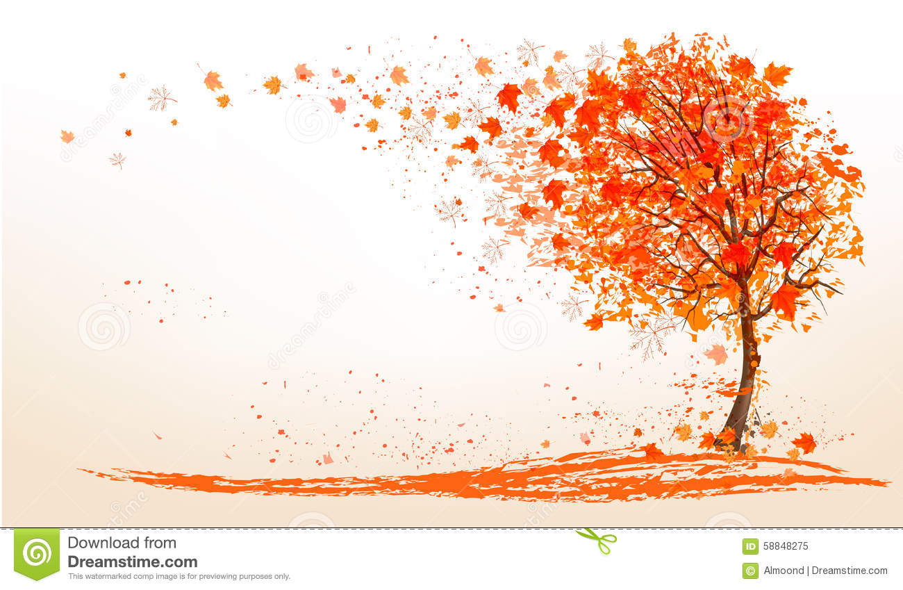 Autumn Background With A Tree And Golden Leaves Stock