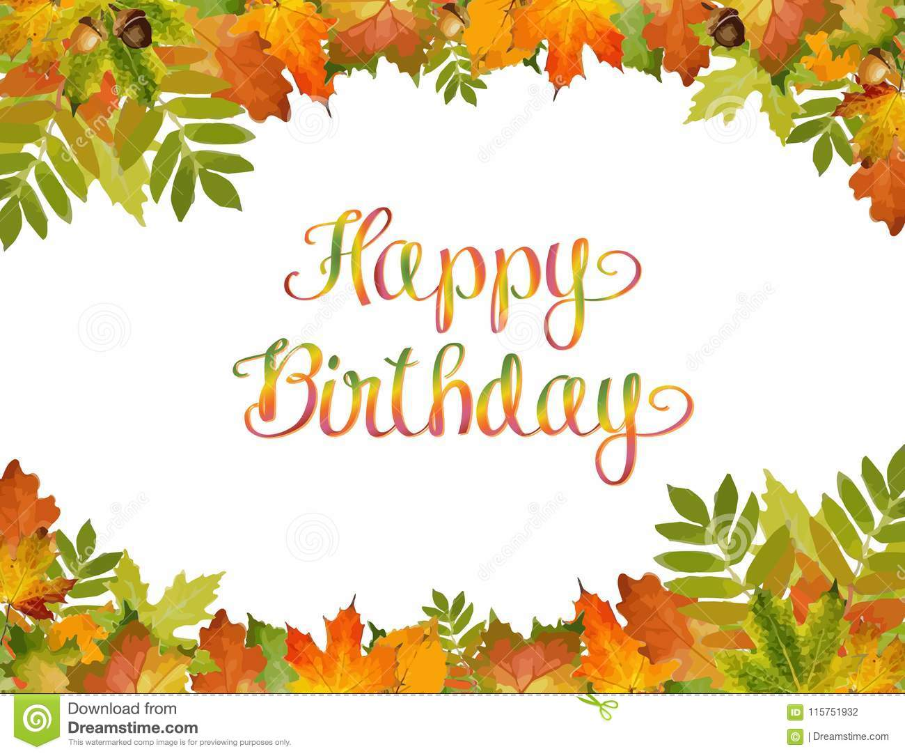Autumn Background Vector With Happy Birthday Text. Style ...