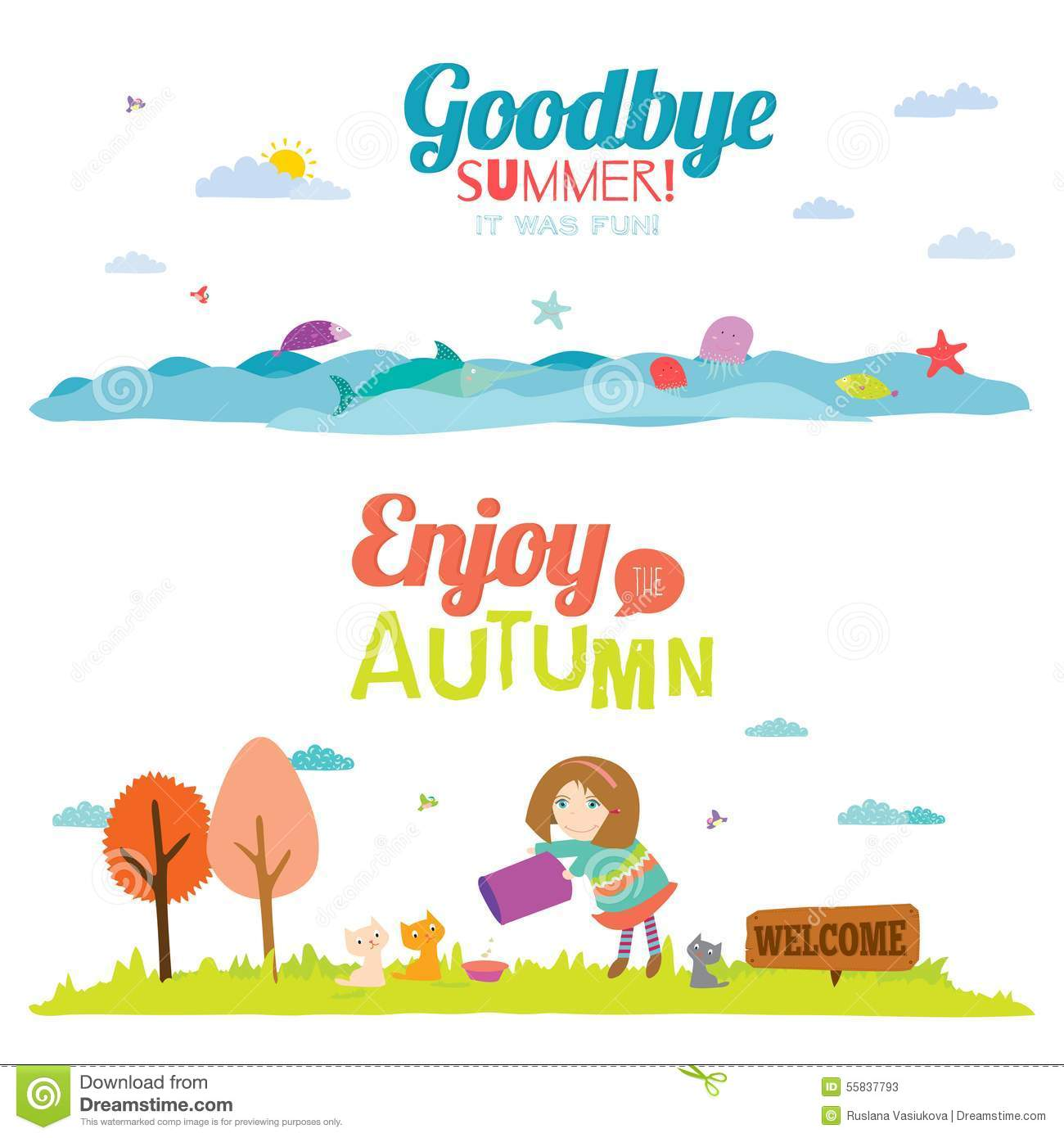 Autumn Banners With Funny Happy Smiling Kids Stock Vector - Image: 55837793