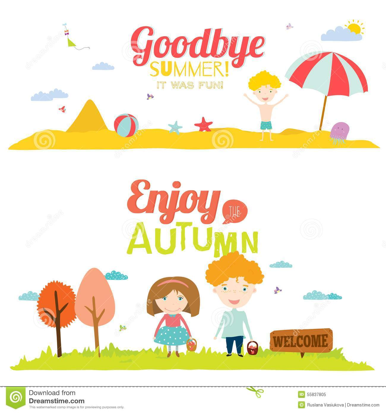 Autumn Banners With Funny Happy Smiling Kids Stock Vector ...