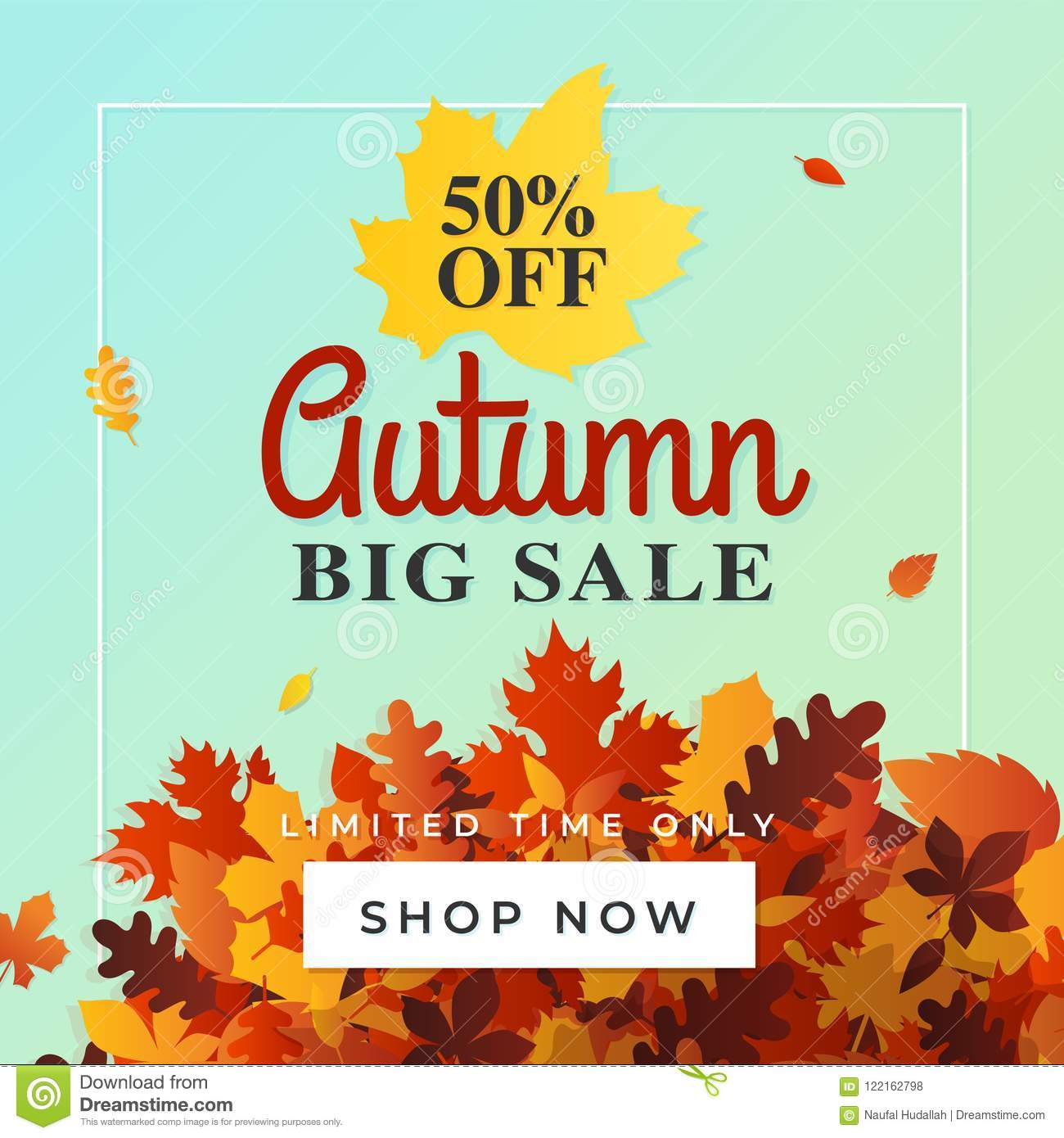 autumn big sale background vector 50 off fall discount flyer