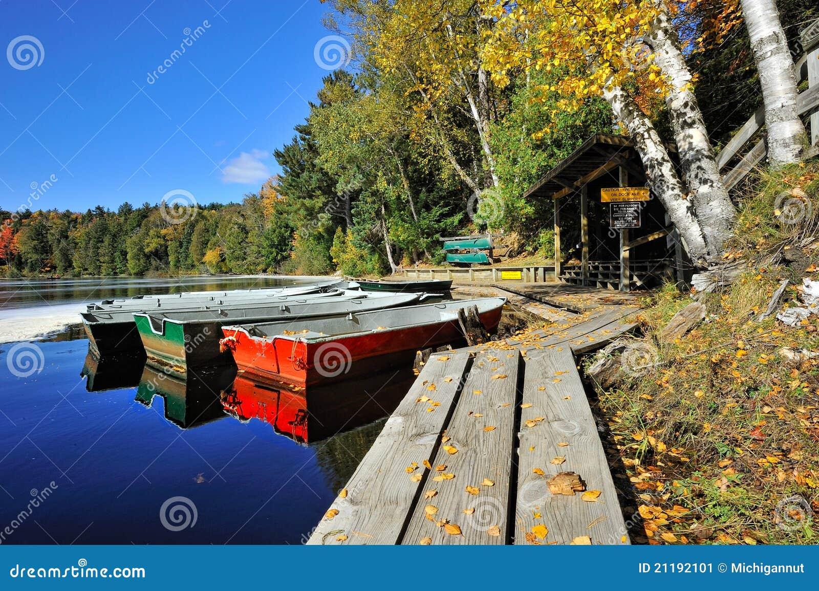 Autumn Boat Rental Dock , Tahquamenon Falls, MI