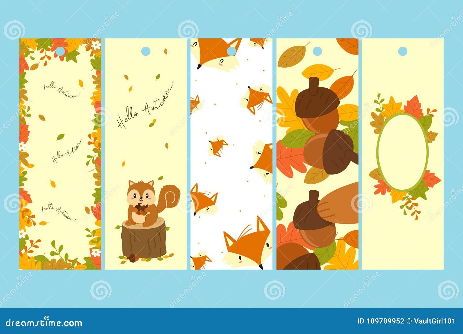 Autumn Bookmark Template Vector Set Illustration De Vecteur
