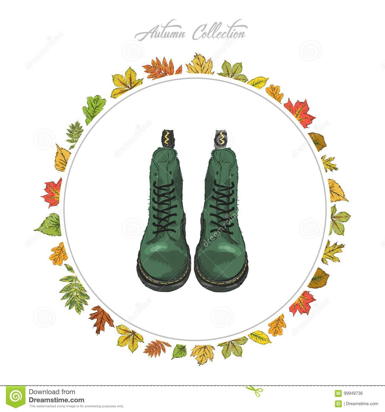 Autumn boots. Hand draw shoes. Autumn collection. Frame of autumn leaves. Vector illustration.