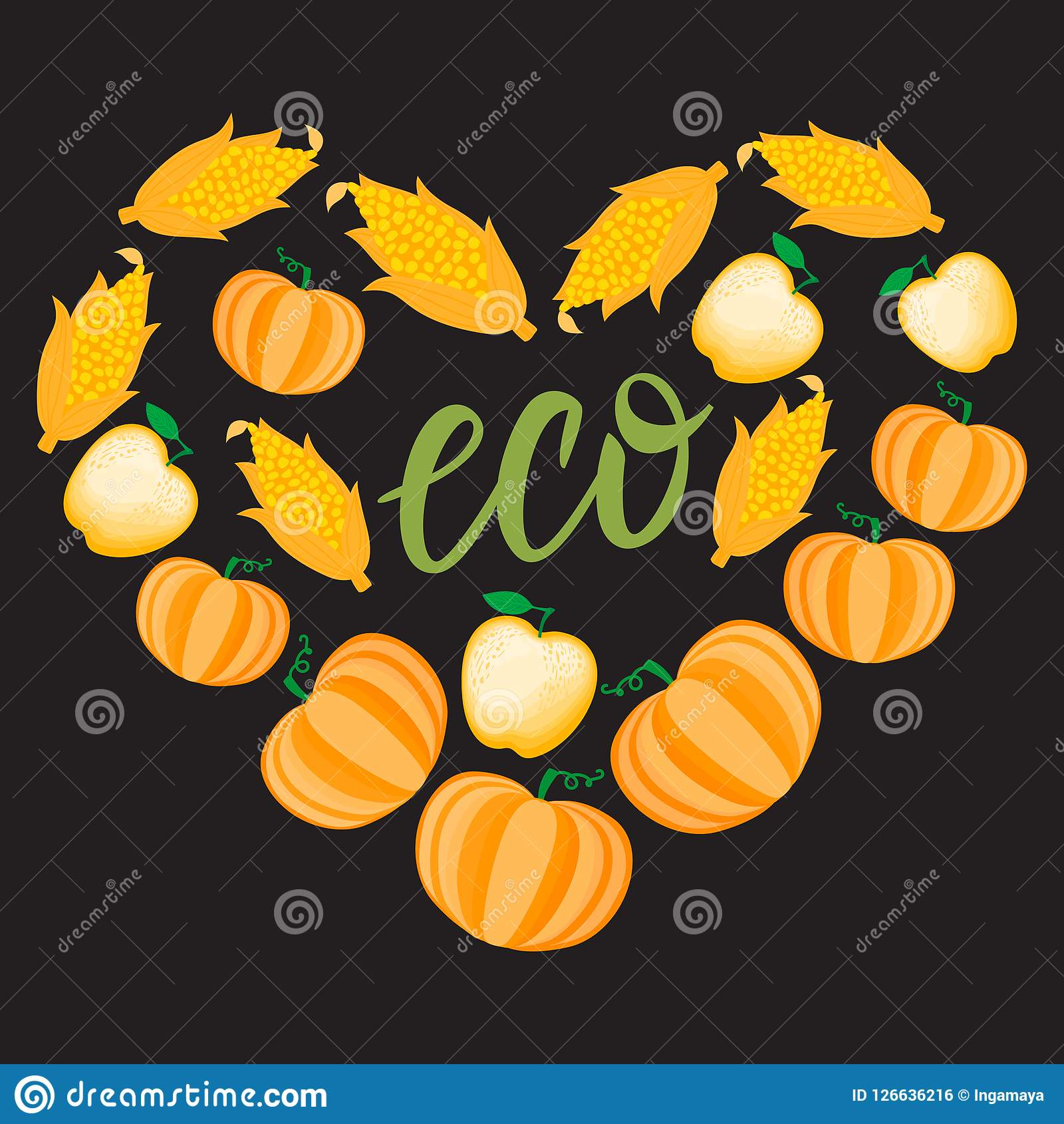 Autumn Cartoon Heart mit orange Gemüsekürbismaisapfel Vektor ilustration lokalisiert auf dunklem Hintergrund