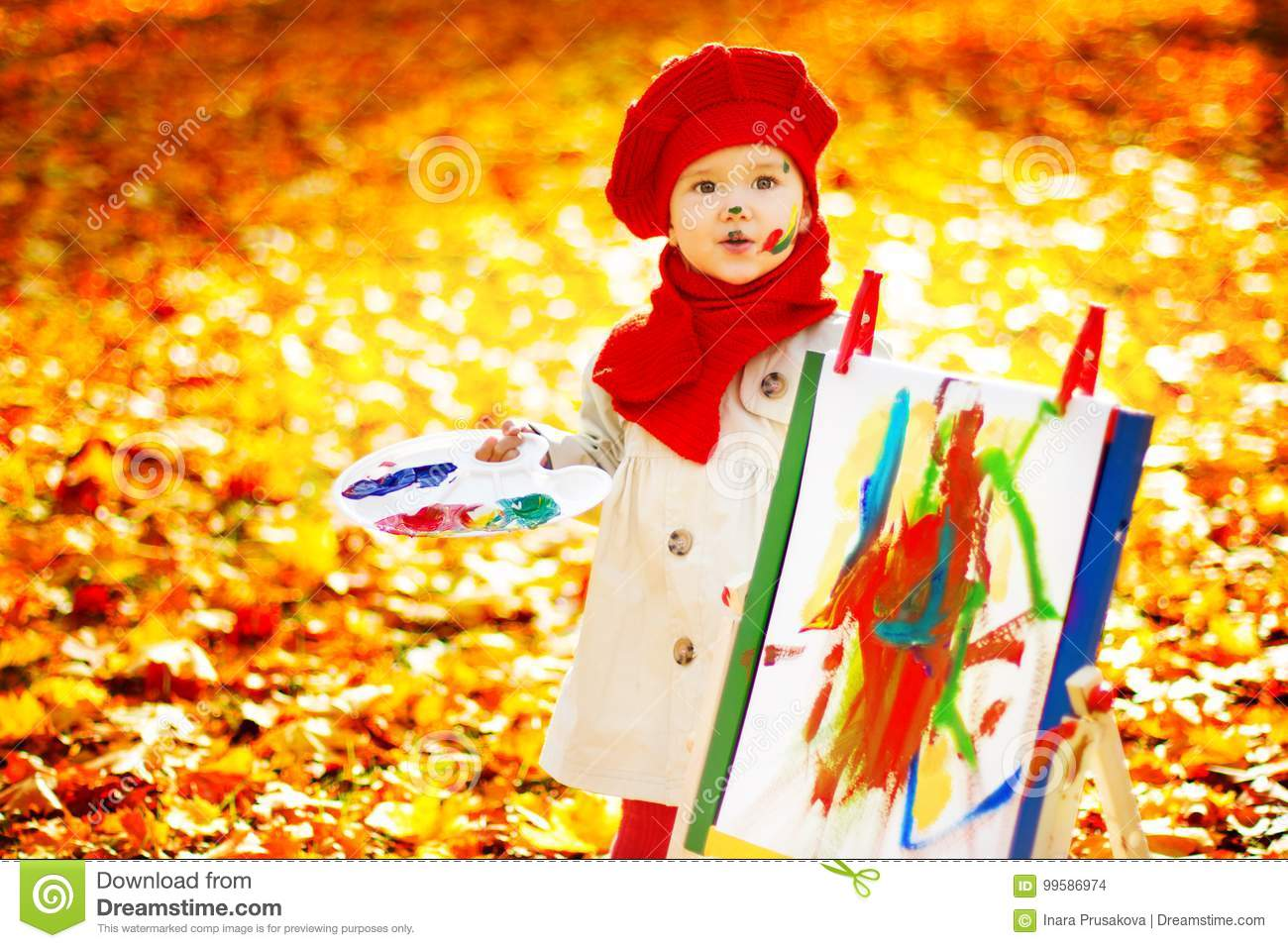 Autumn Child Painting Art Picture, Kid Artist Drawing Fall Leave