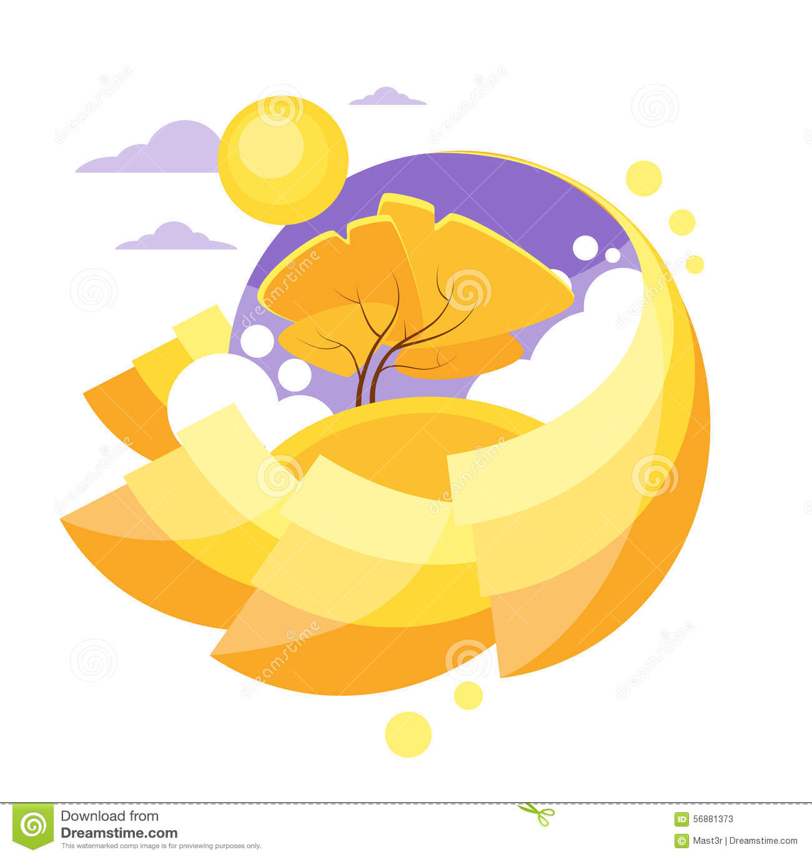 Autumn Circle Banner Flat Design Logo Yellow Tree
