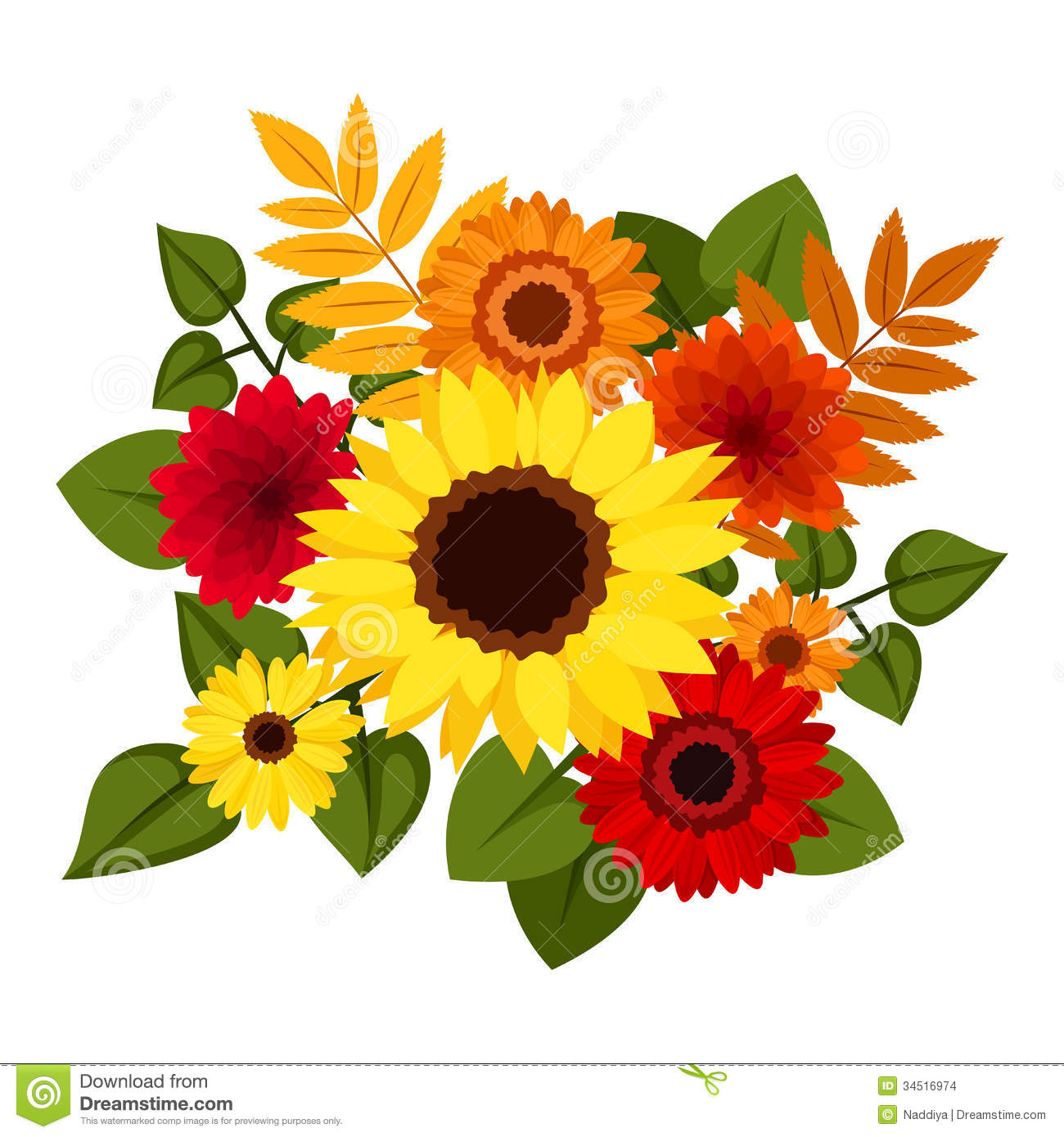 Autumn colorful flowers. stock vector. Illustration of ...