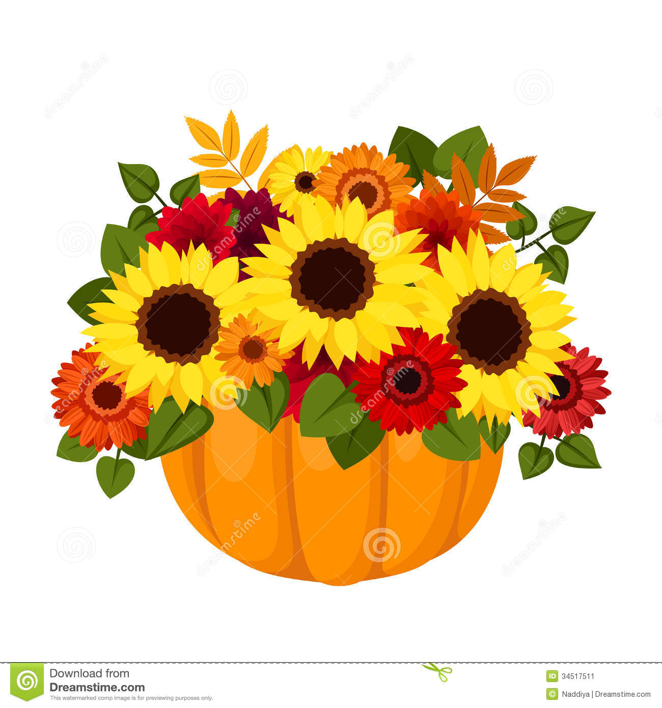 Autumn Colorful Flowers In Pumpkin. Stock Image - Image ...