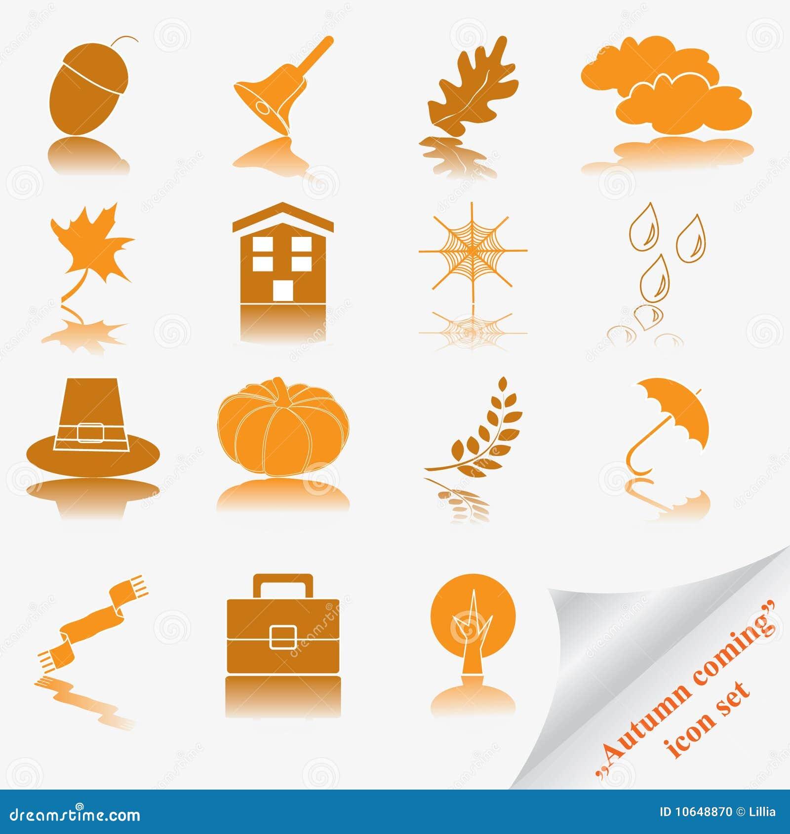 Autumn coming soon icon set