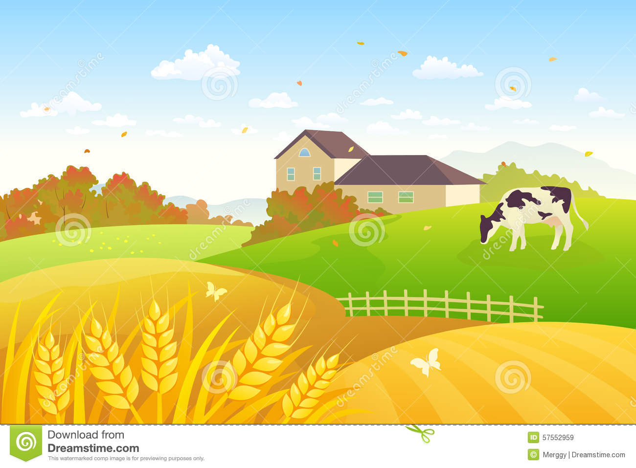 Illustration of a fall countryside scene with a grazing cow and wheat ...