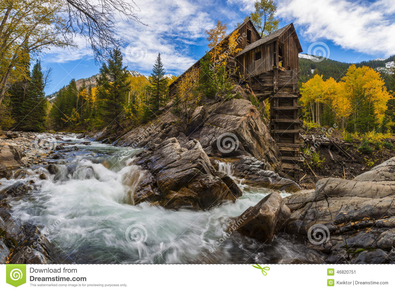 Autumn In Crystal Mill Colorado Landscape Stock Image