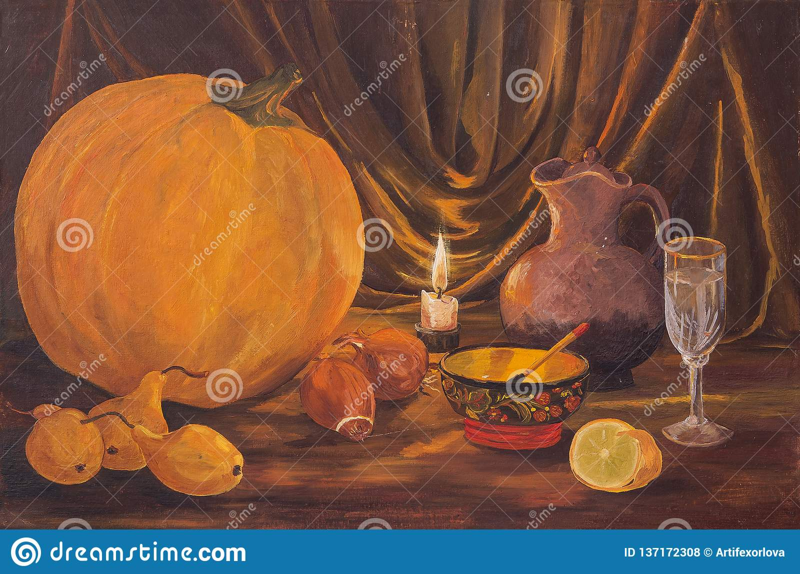 Autumn dark Thanksgiving concept with pumpkins, pear, onions, lemon, bowl, wine glass, jug and burning candles on table