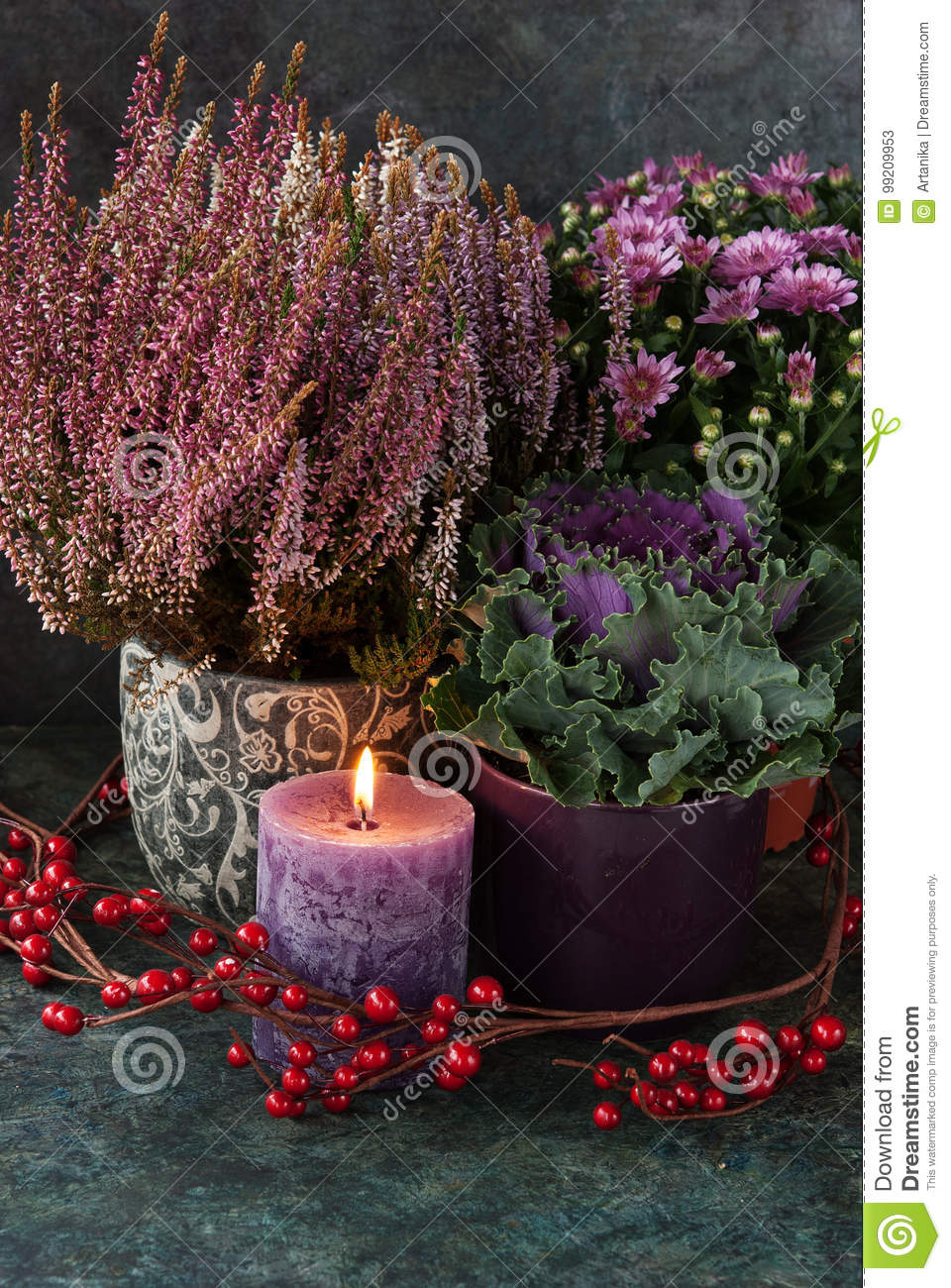 Download Autumn Decor With Candle And Flowers Stock Image - Image of holiday, festive: 99209953