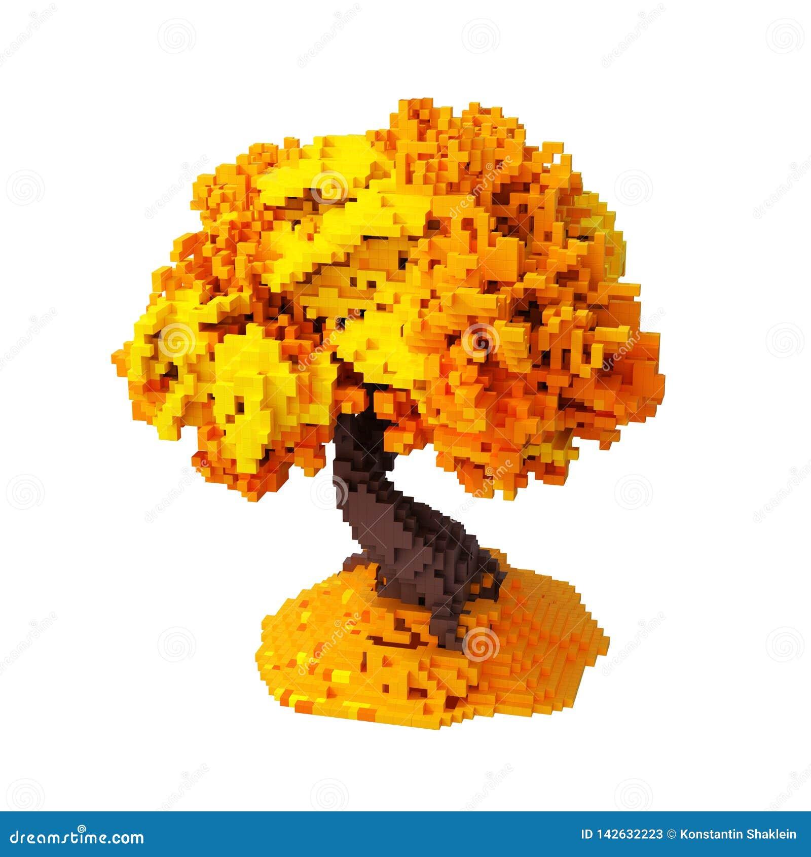 Autumn Digital Pixelated Tree Isolated en el fondo blanco