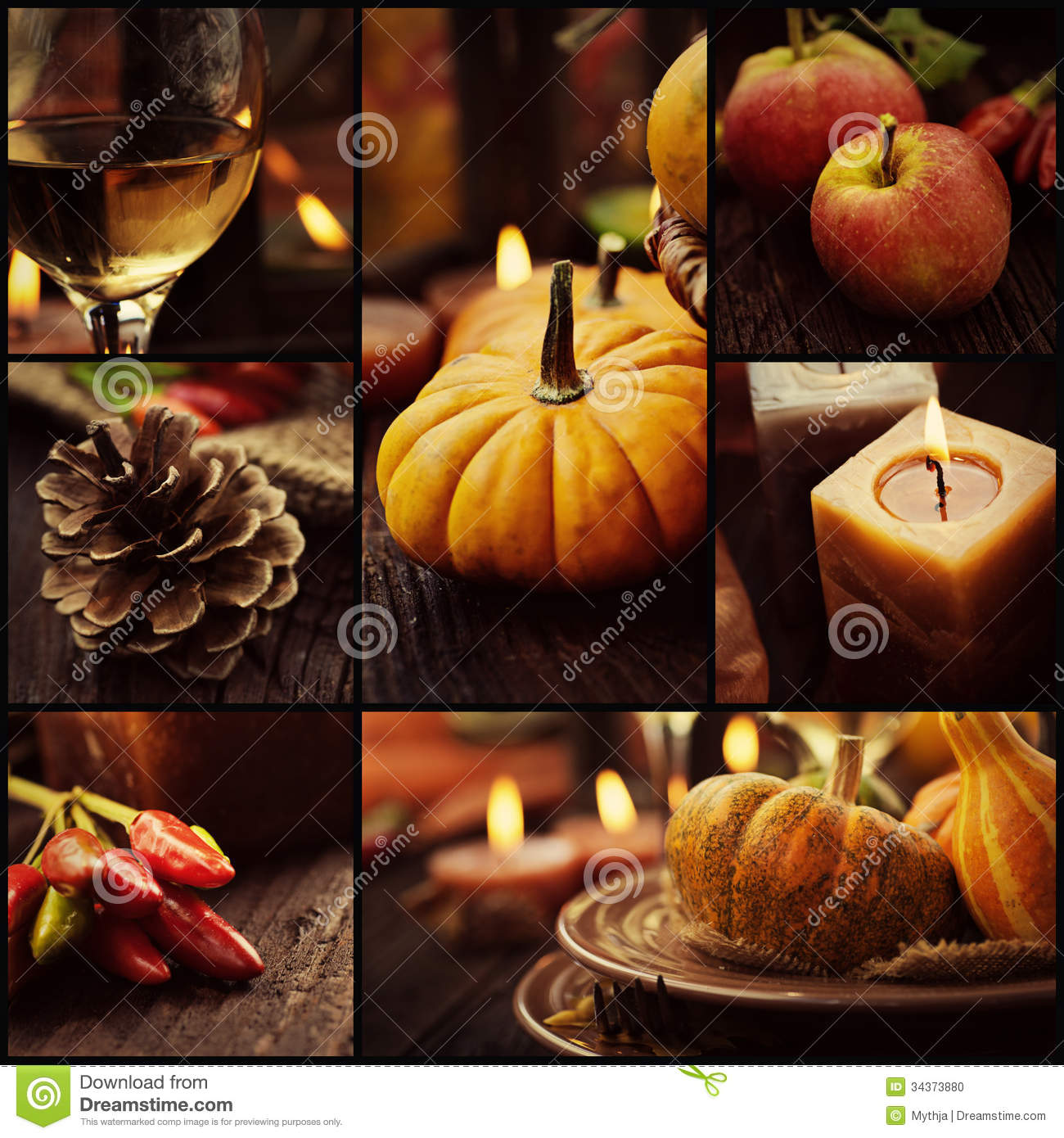 Autumn dinner collage stock photo image 34373880