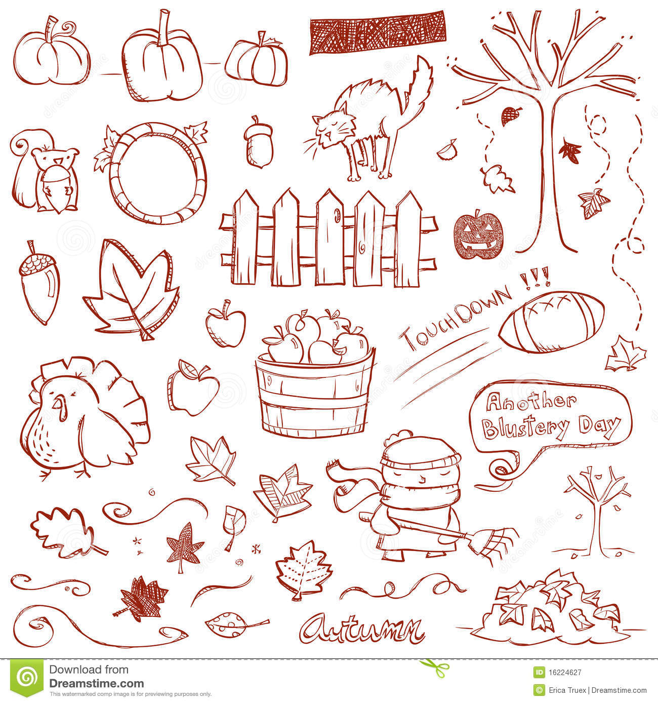 autumn doodles stock vector image of leaves  acorn  october 16224627 acorn clip art free acorn clip art black and white
