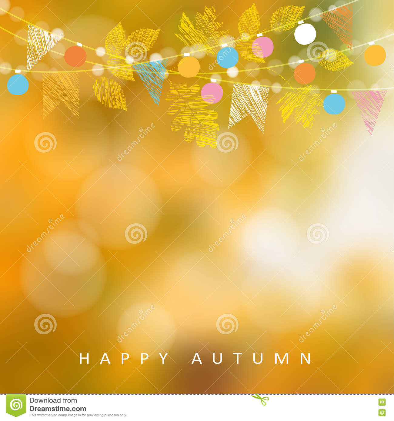Autumn Fall Background Card With Maple And Oak Leaves