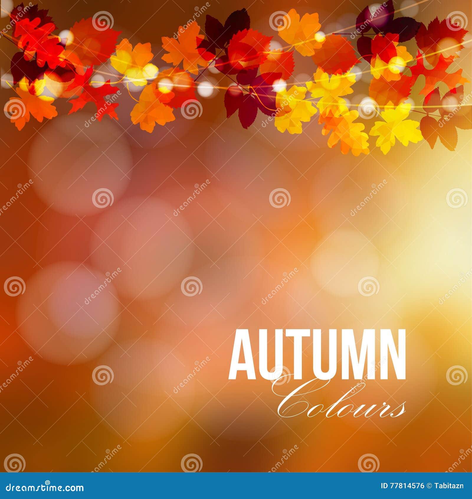 Autumn, fall card, banner. Garden party decoration. String of polygonal oak, maple leaves, lights. Modern illustration