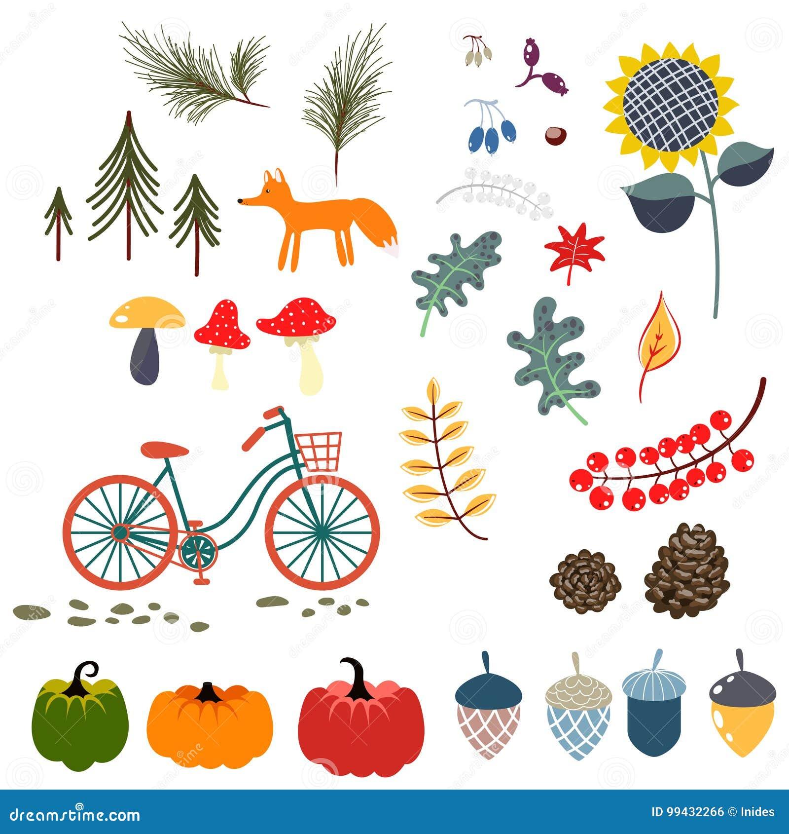Autumn fall clip art vector illustrations.