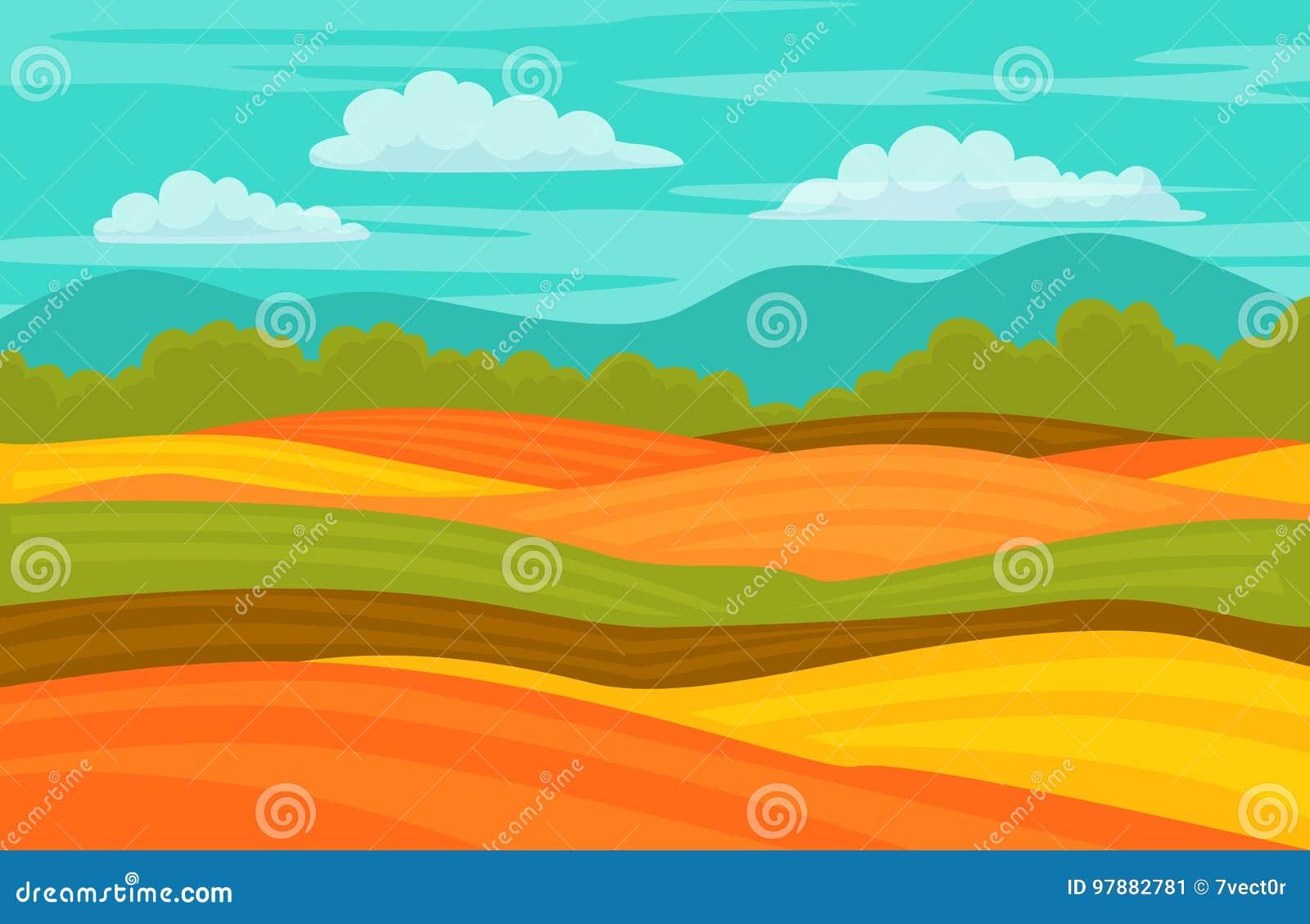Autumn fall colorful cute fields landscape background