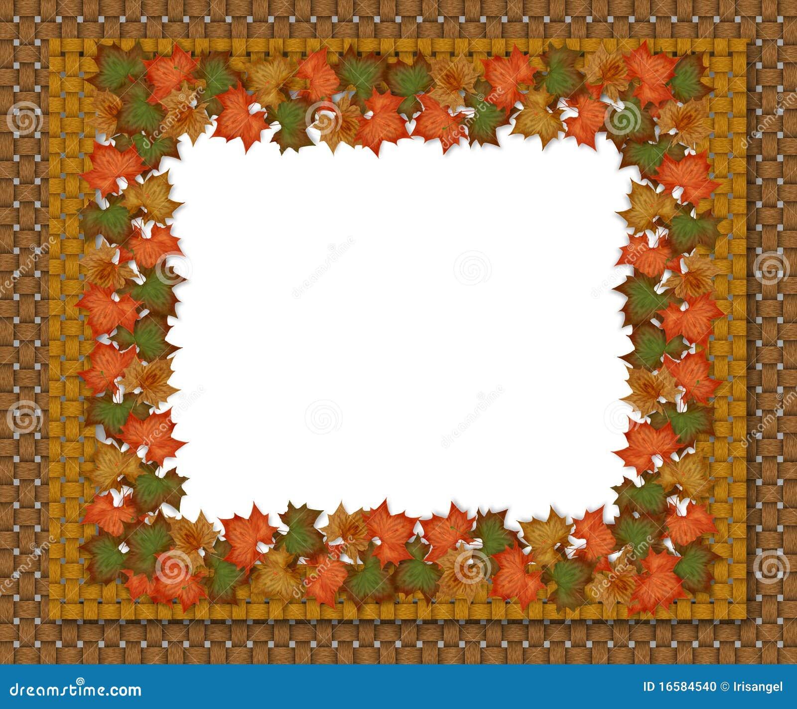 autumn fall leaves border design stock illustration