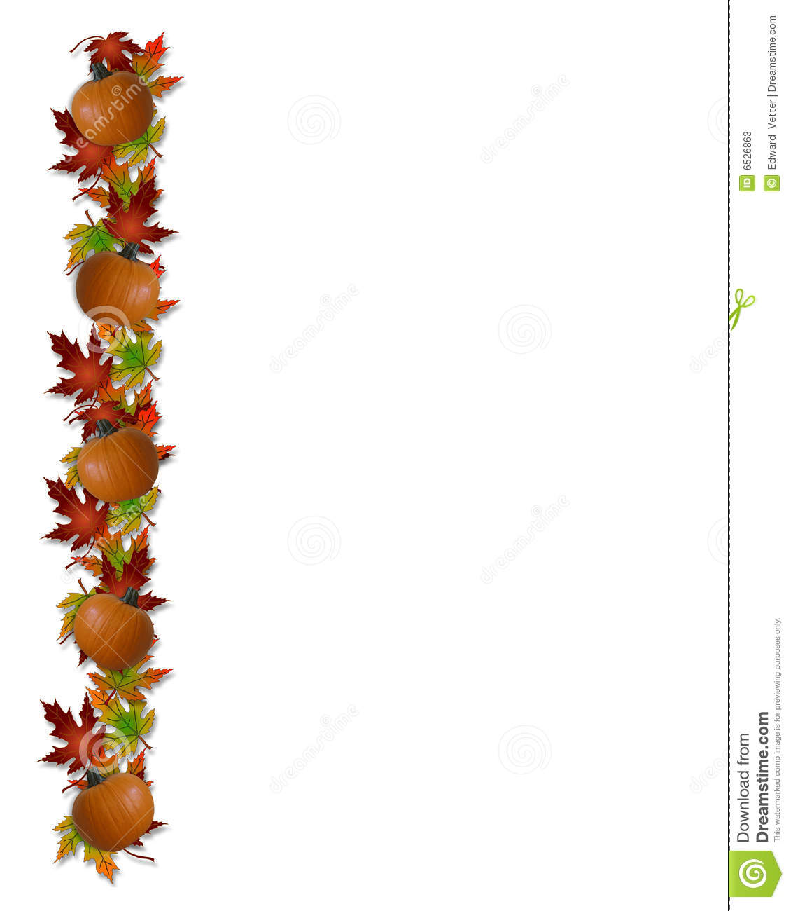 Autumn Fall Leaves And Pumpkins Border Illustration 6526863