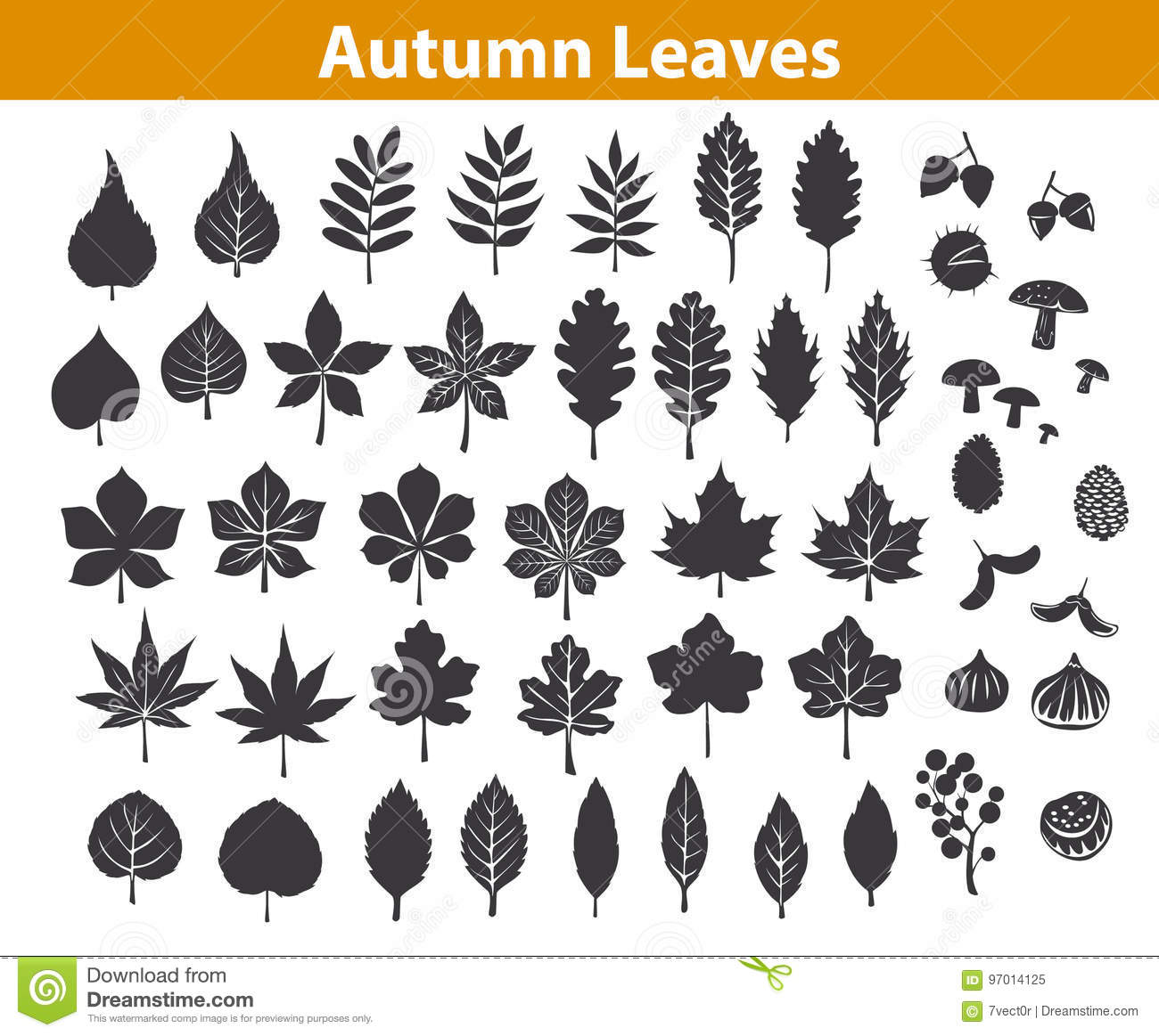 Autumn fall leaves silhouettes set in black color