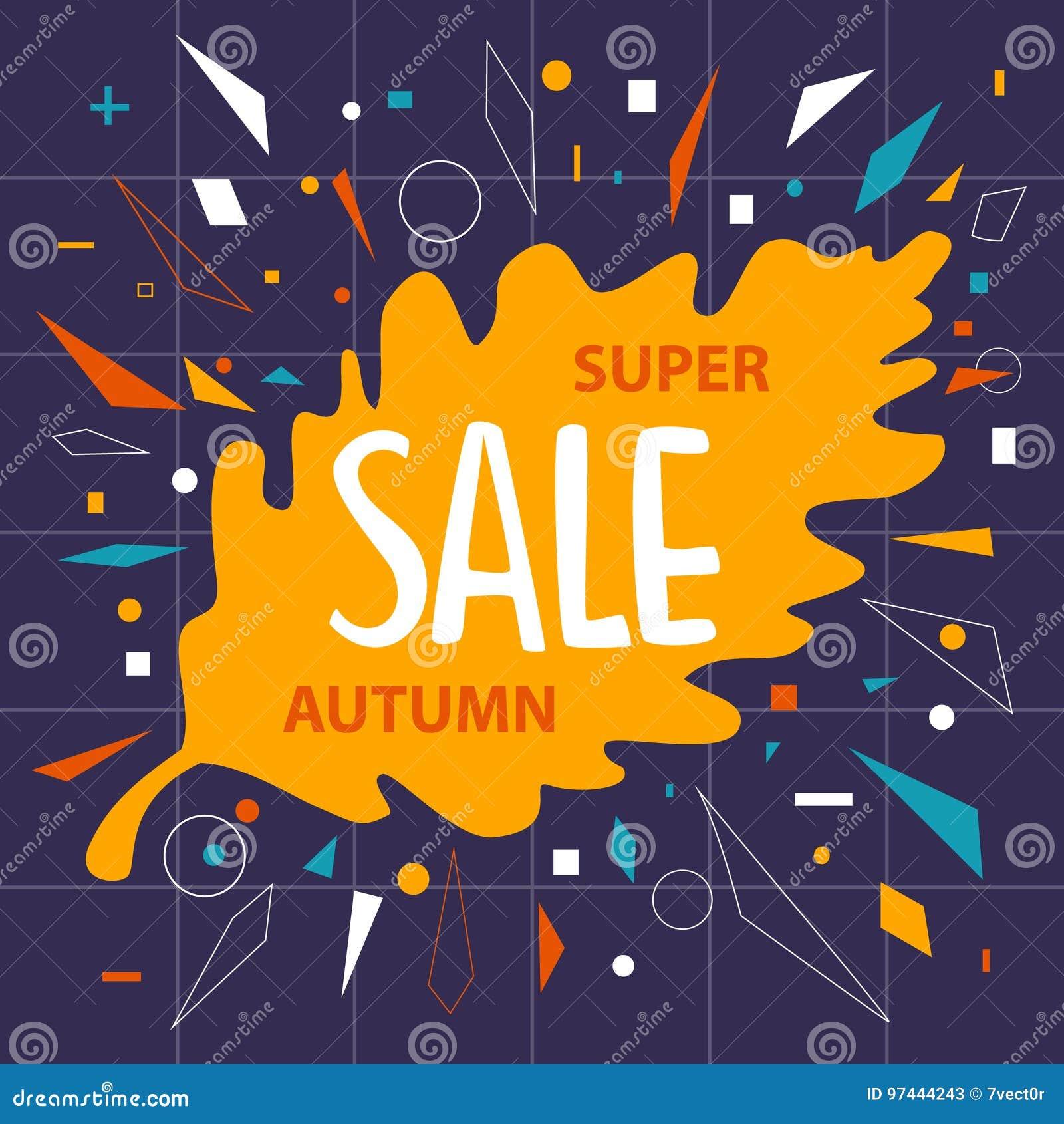 Autumn fall oak leaf sale banner background with geometric confetti shapes