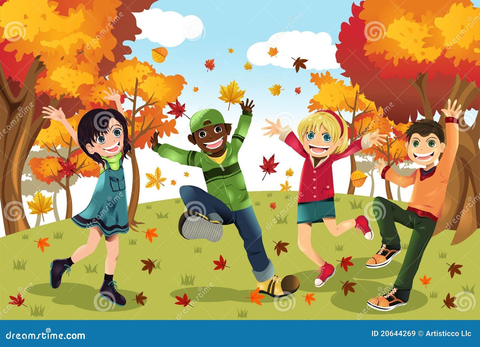 Autumn Fall season kids stock vector. Illustration of ...