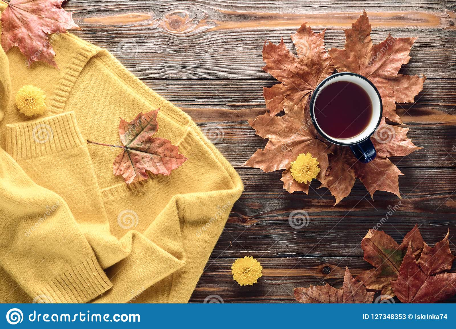 Autumn fashion seasonal concept sweater cardigan cup hot black tea