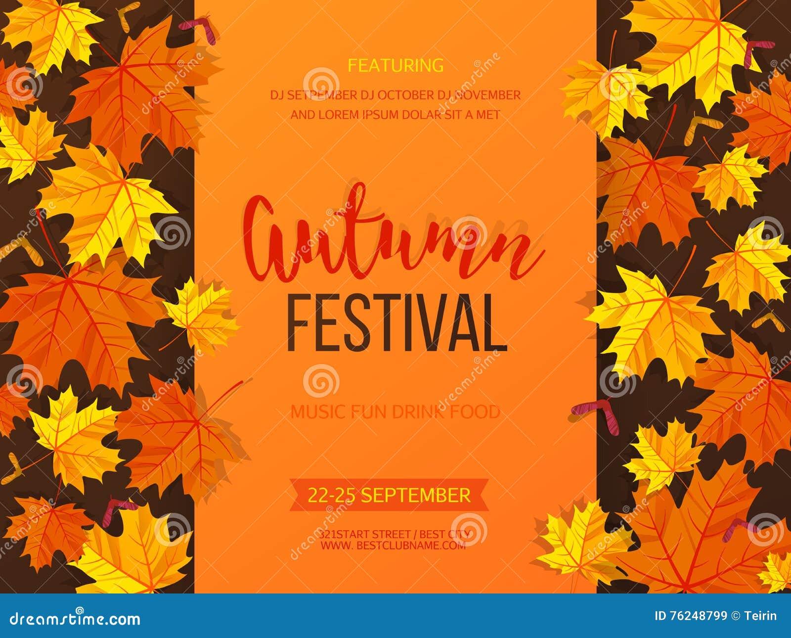 Autumn festival background invitation banner with fall leaves autumn festival background invitation banner with fall leaves vector illustration kristyandbryce Images