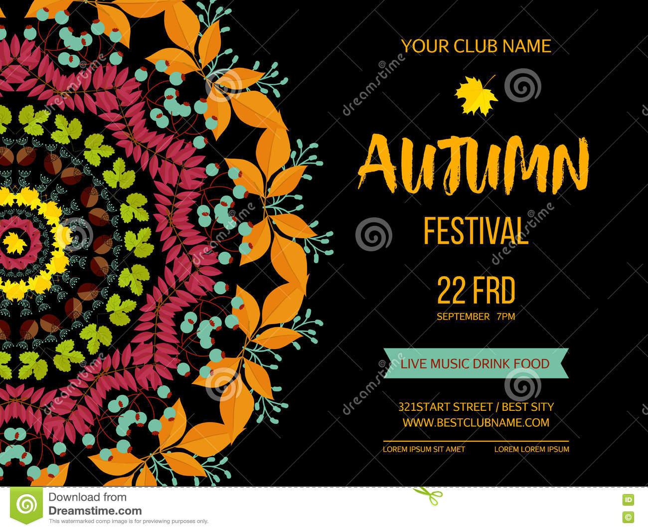 Autumn festival background invitation banner with fall leaves download autumn festival background invitation banner with fall leaves vector illustration stock vector stopboris Images