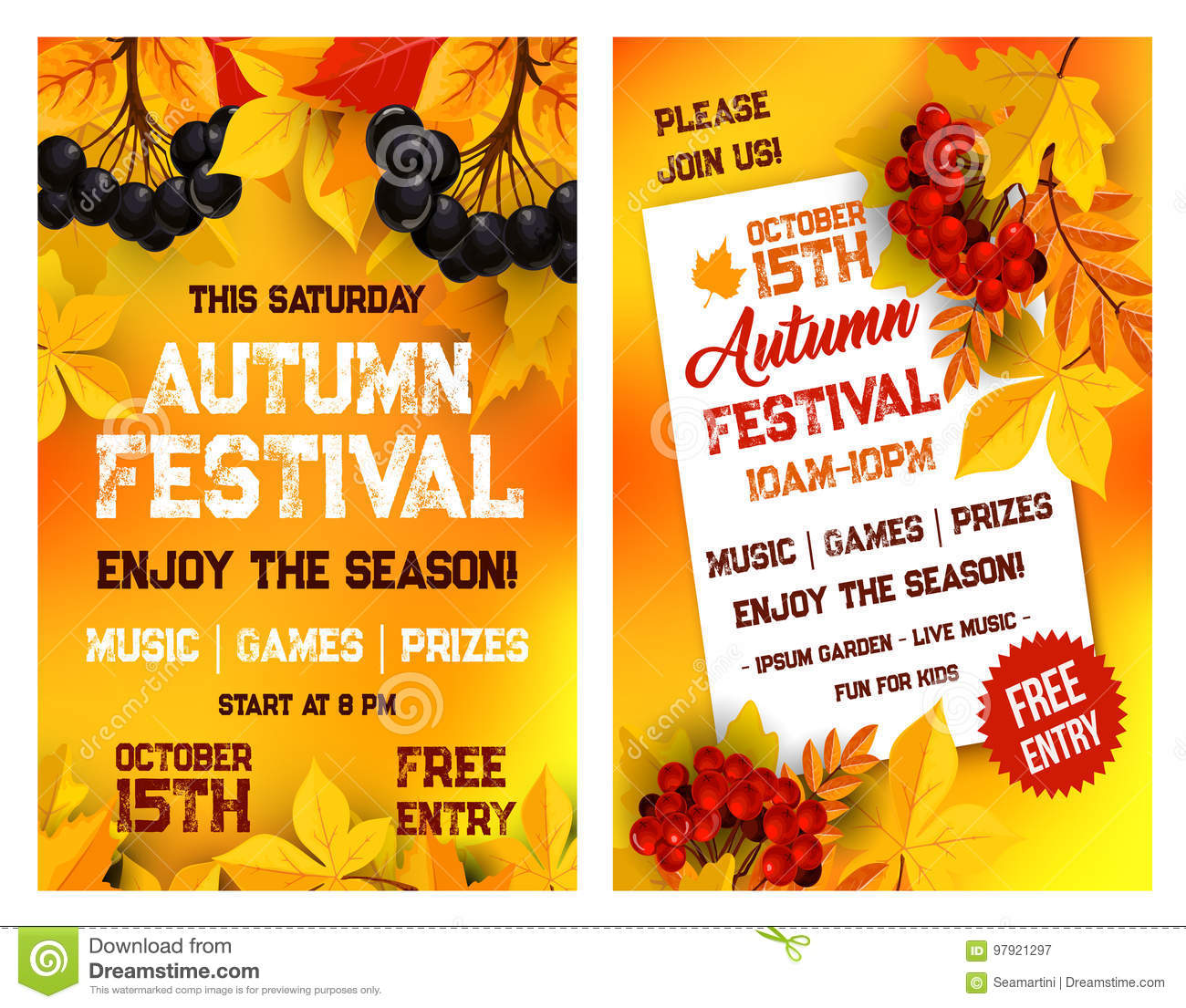 Fall Event Flyer Template Free from thumbs.dreamstime.com