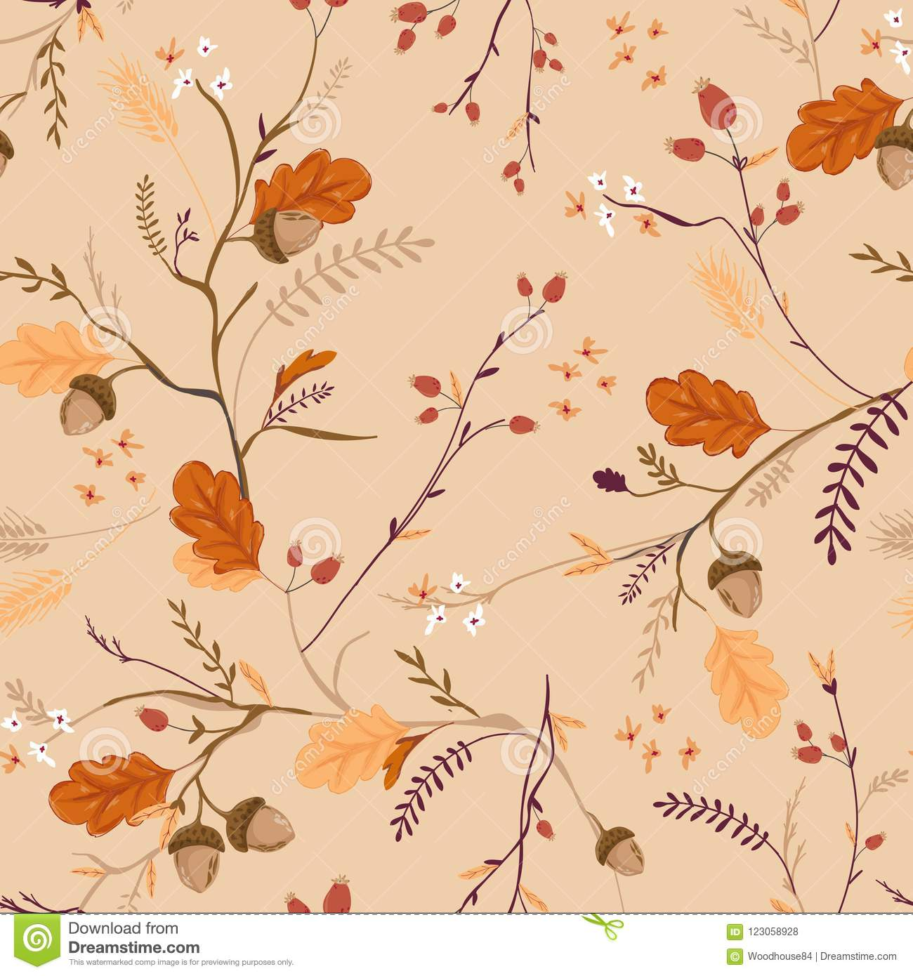 Autumn Floral Seamless Pattern with Acorns, Leaves and Flowers. Fall Vintage Nature Background for Textile, Wallpaper