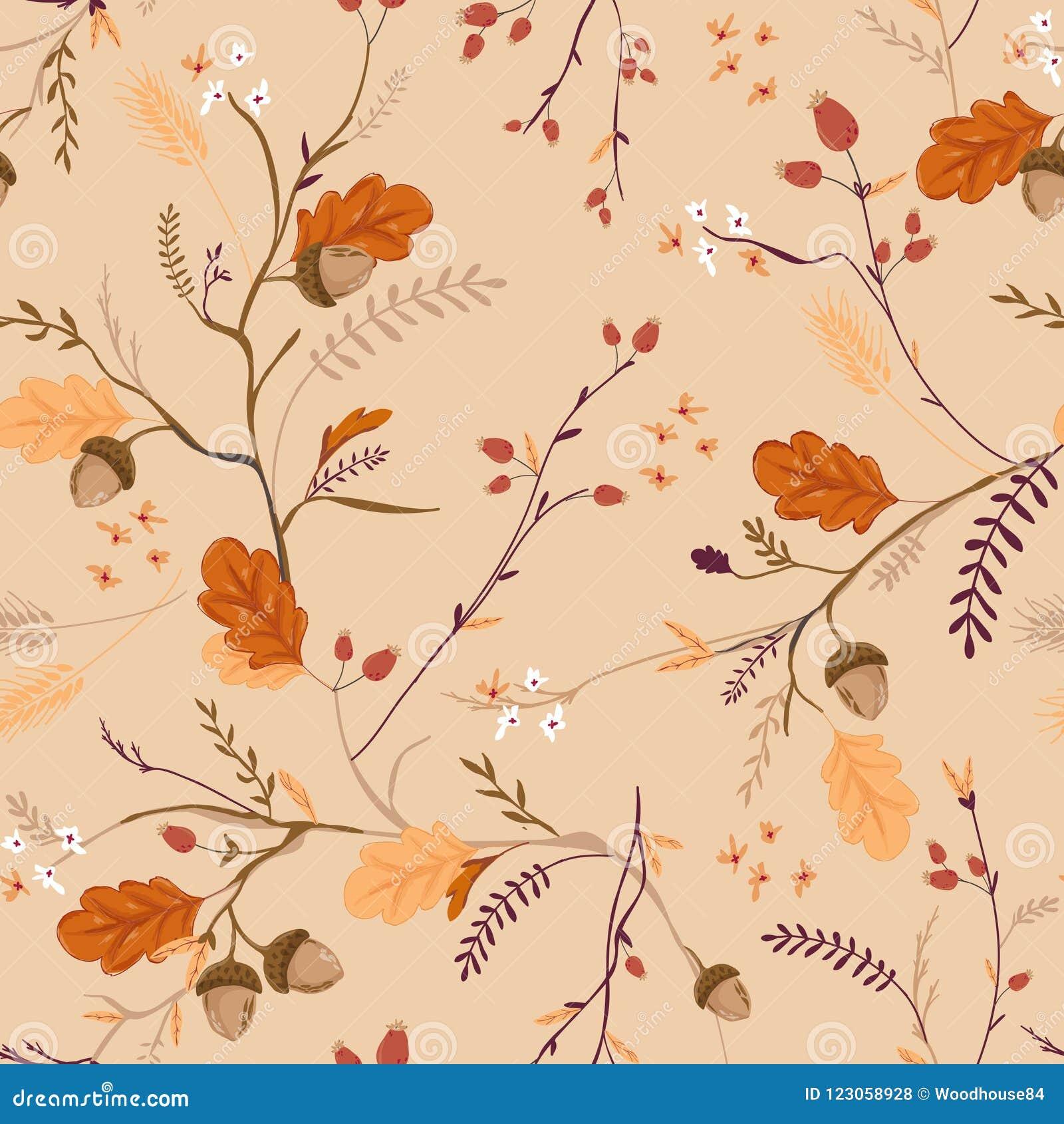 Autumn Floral Seamless Pattern med ekollonar, sidor och blommor Bakgrund för nedgångtappningnatur för textilen, tapet