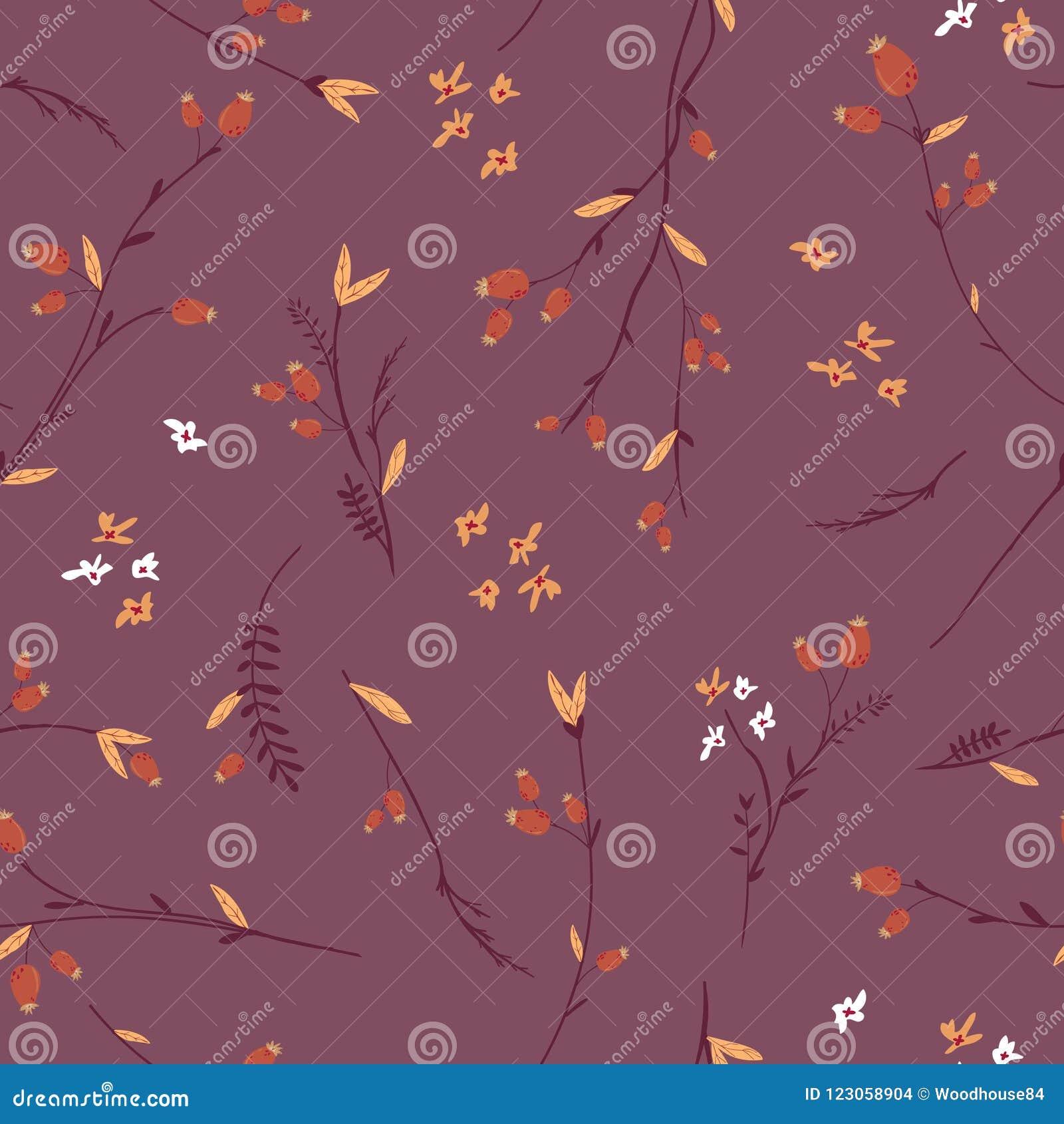 Autumn Floral Seamless Pattern mit Blättern und Blumen Fall-Weinlese-Natur-Hintergrund für Gewebe, Tapete
