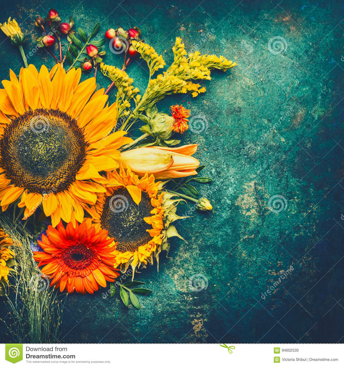 Autumn Flowers Arrangements Made Of Sunflowers Leaves And Canina Berries On Rustic Vintage Background Top View Place For Text Stock Photo Image Of Orange Blossom 94602530