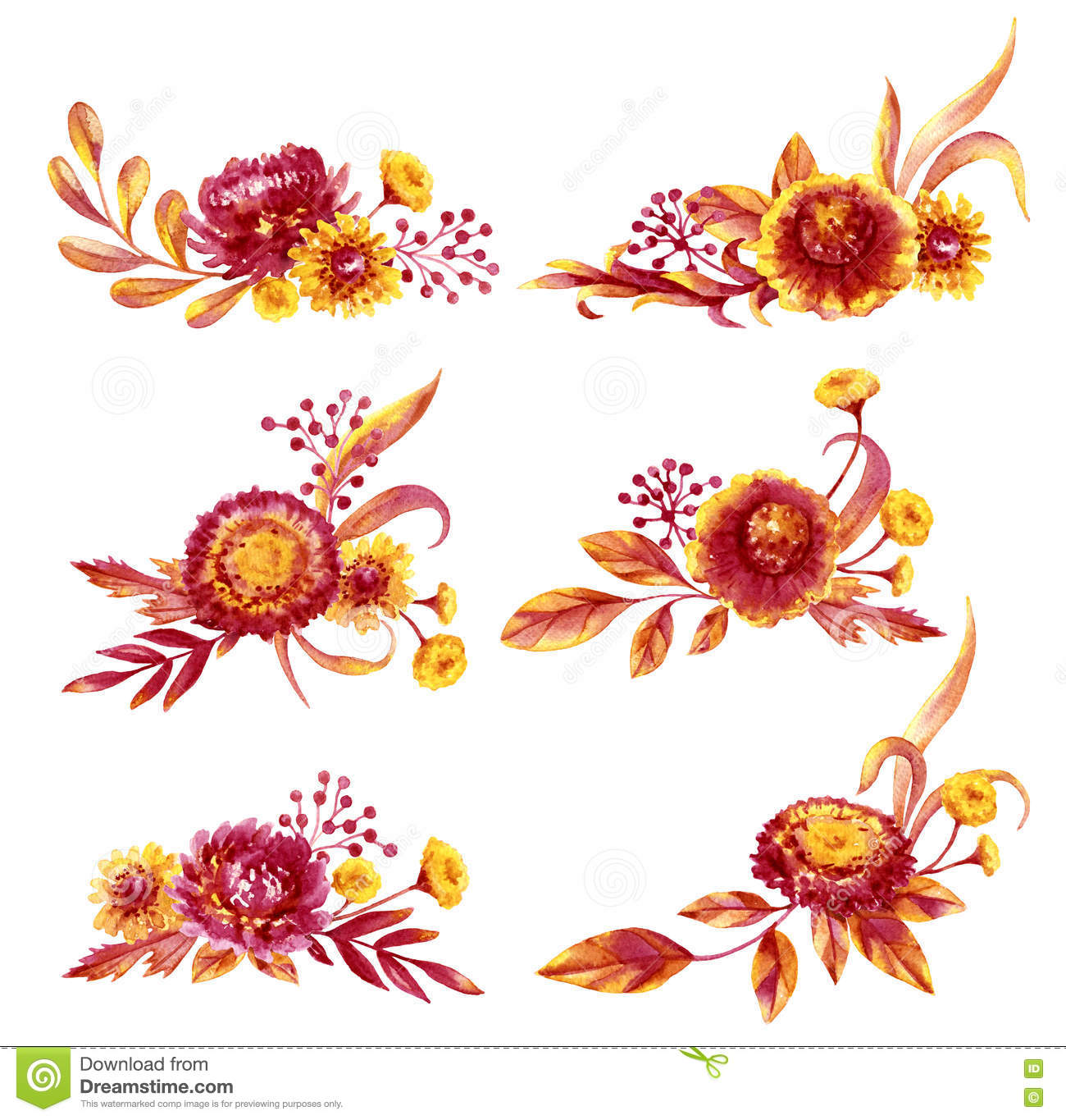 Autumn Flowers Bouquets Set Stock Illustration Illustration Of