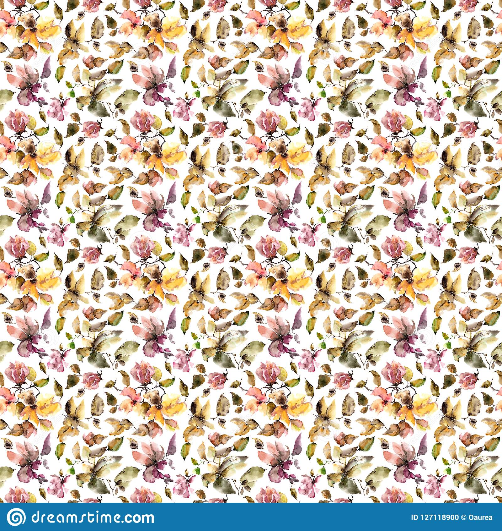 Autumn Flowers Pattern Seamless Floral Background Withered Pink