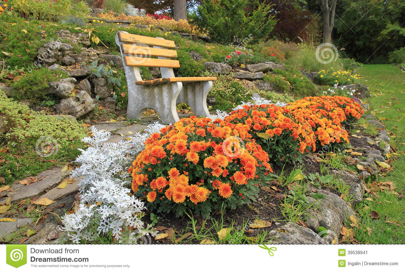 Autumn Flowers In A Rock Garden Ontario Canada Stock