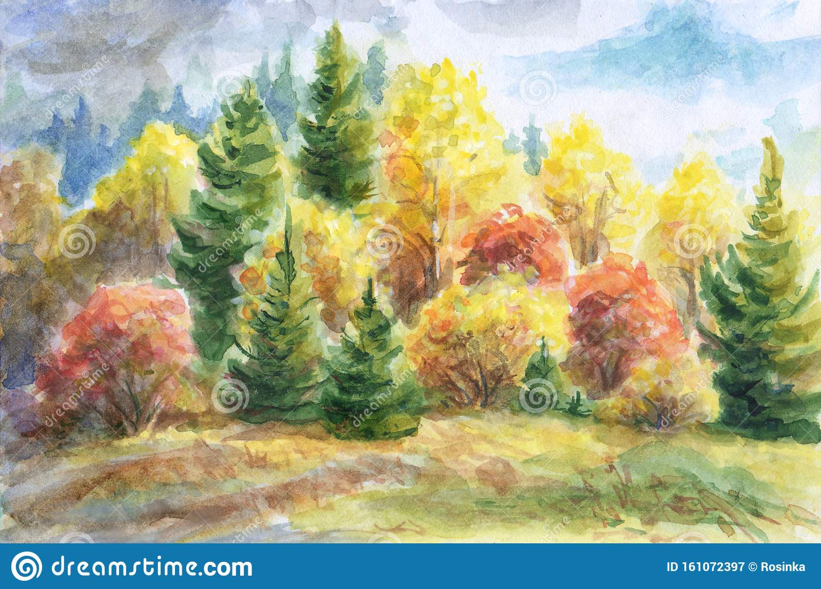 autumn forest watercolor landscape painting stock illustration illustration of landscape border 161072397 https www dreamstime com autumn forest watercolor landscape painting mixed multicolored trees image161072397