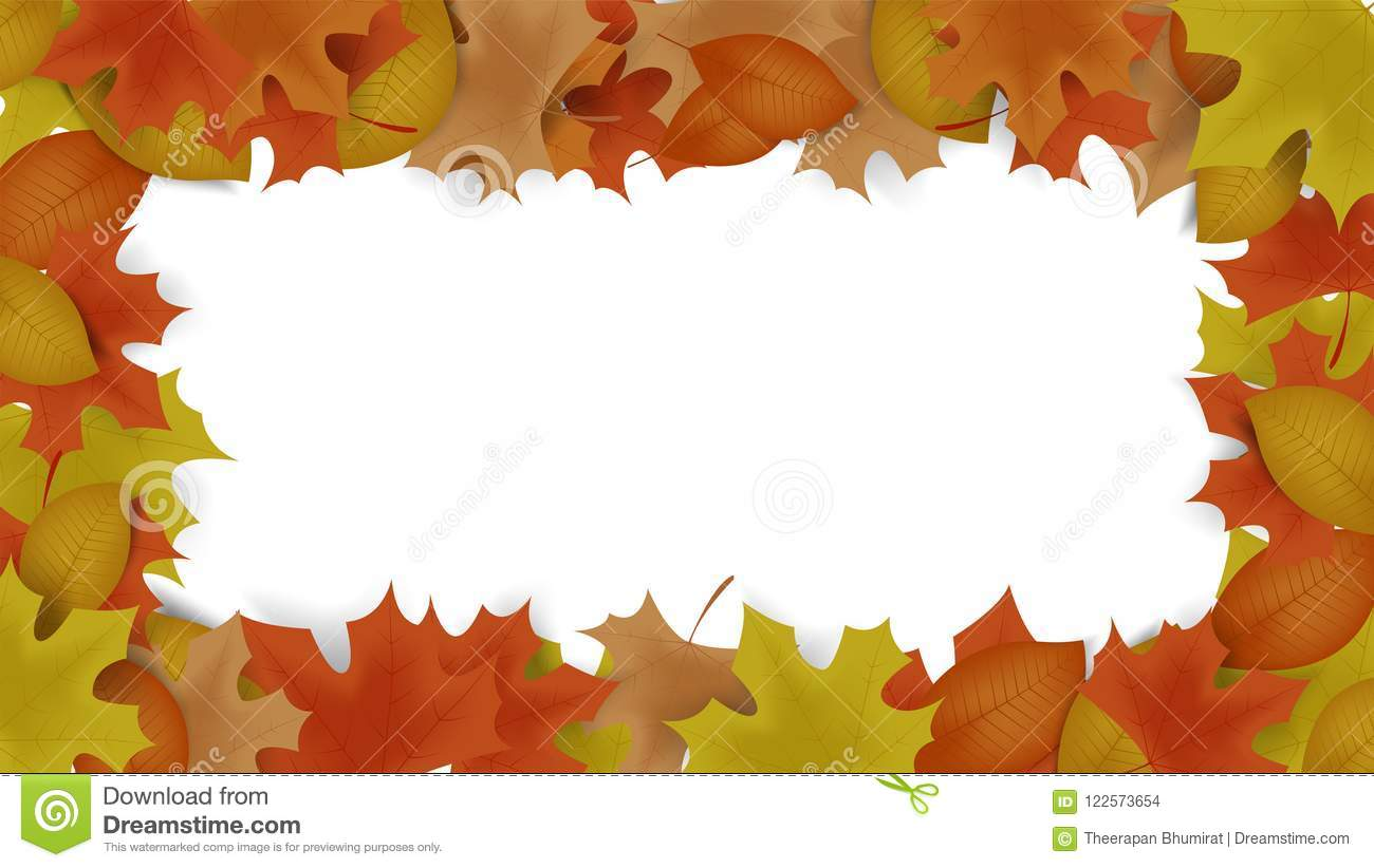 Autumn Frame Background Decor With Autumn Maple Leaves And Frame ...