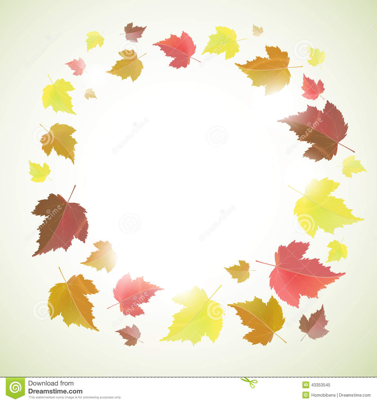 Autumn frame or background with leaves