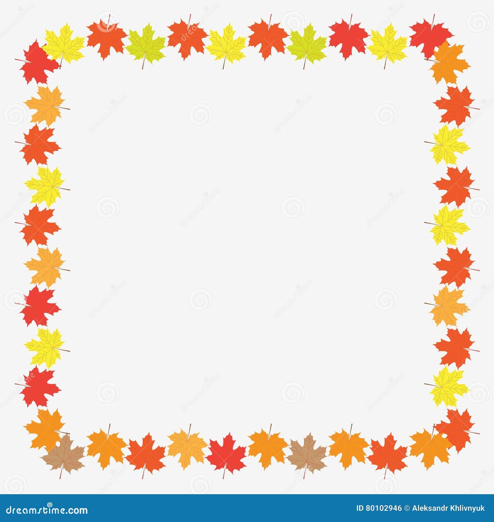 Autumn Frame With Maple Leaves sobre o fundo branco Ilustração do vetor