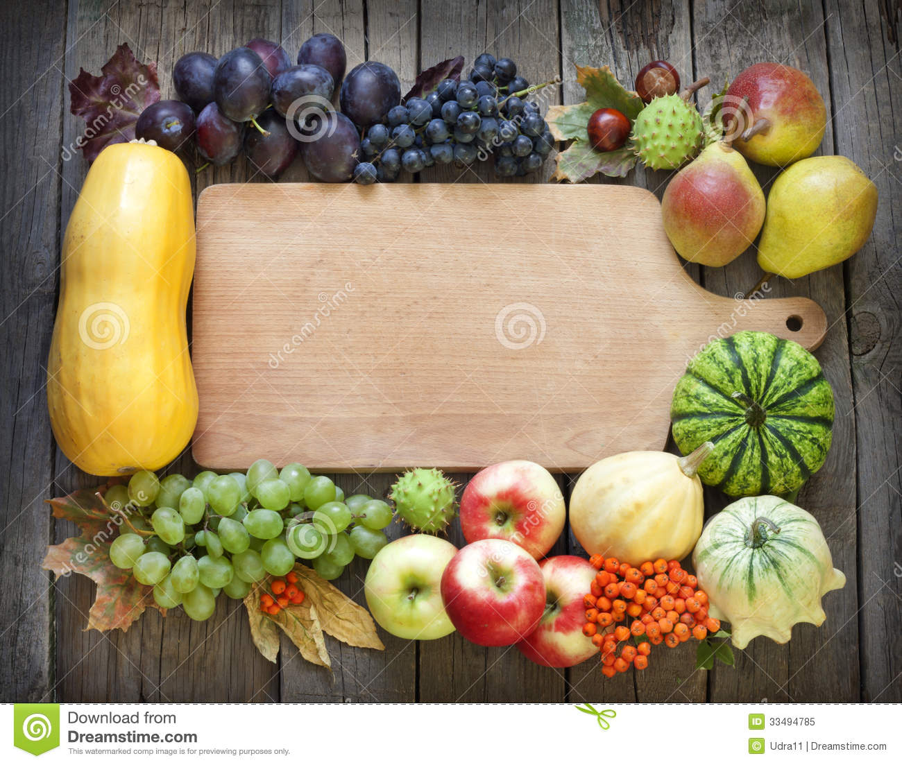 Autumn Fruits And Vegetables And Empty Cutting Board ...
