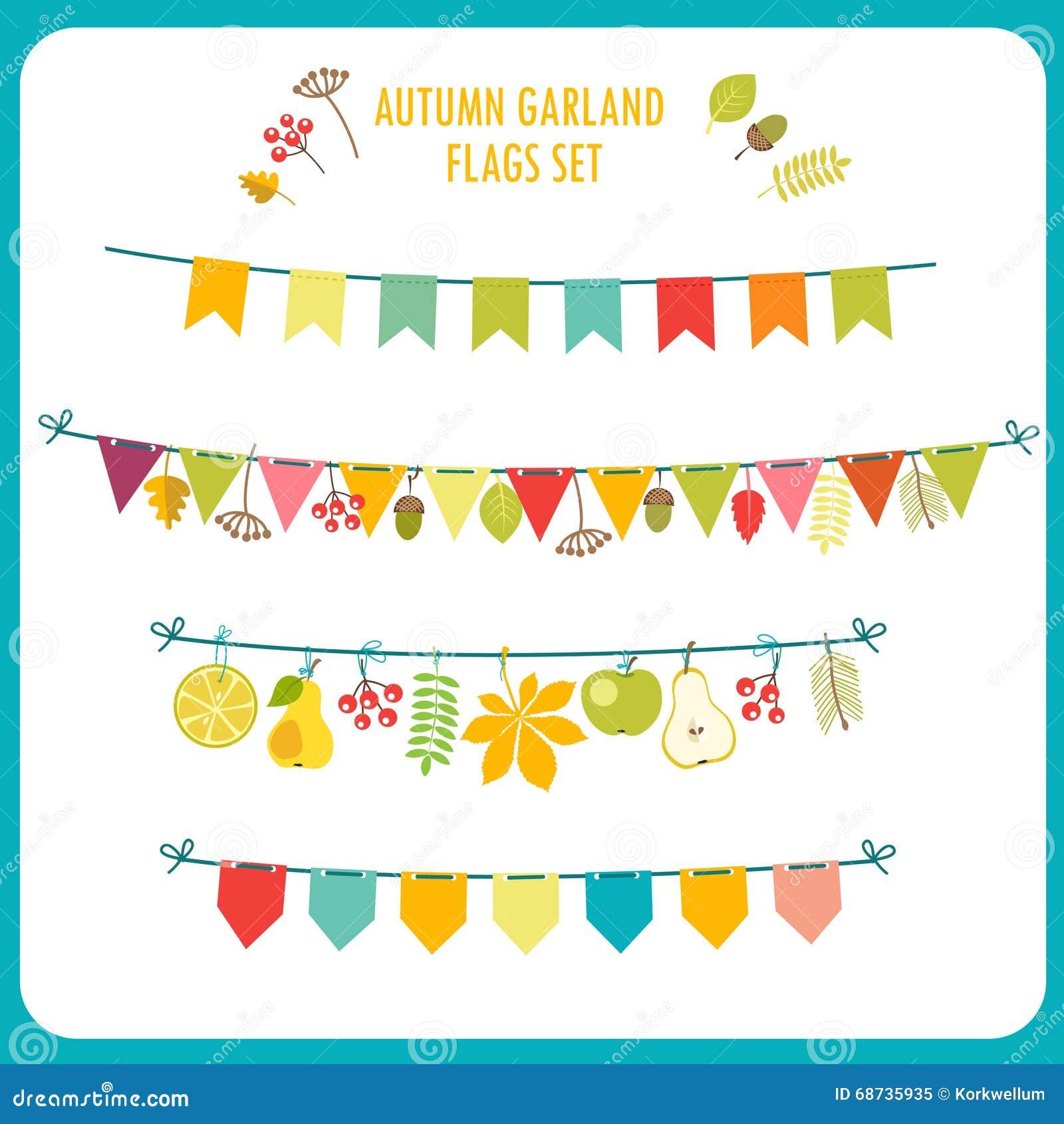 Autumn Garland And Flags Set. Festive Clip Art.